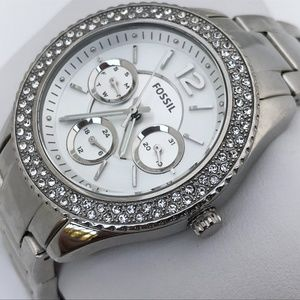 Fossil Women Watch Silver Tone Crystal Accents